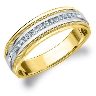 Amore 10K Two Tone Gold Men's 0.25 CT TDW Diamond Milgrain Band
