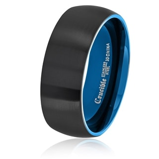 Crucible Men's Two Tone Brushed Stainless Steel Domed Comfort Fit Ring (8mm) - Black/Blue