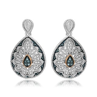 Marabela Sterling Silver and 14k Gold Blue Diamond Pear-Shape Earrings