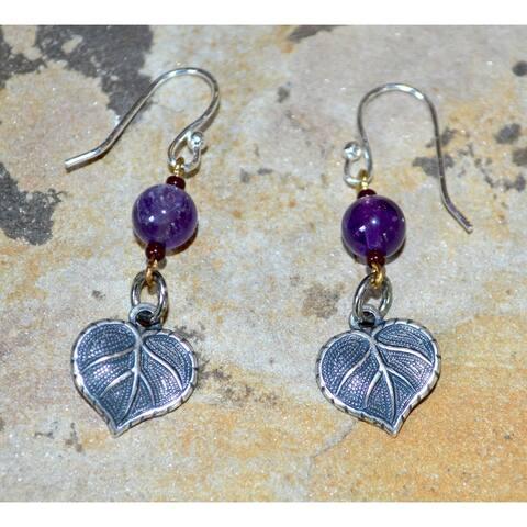 Handmade Antique Silver Small Leaf Dangle Earrings - Amethyst (USA) - Purple