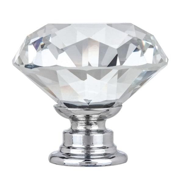 "Shop 1-3/8"" Solid Clear Round Diamond Cut Shape Crystal"