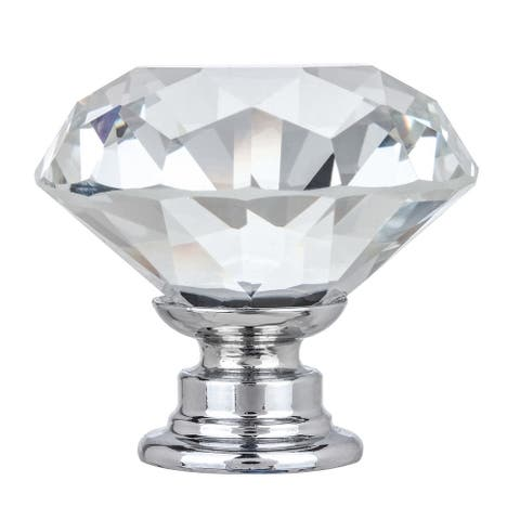 """1-3/8"""" Solid Clear Round Diamond Cut Shape Crystal Glass Kitchen & Bath Knobs (Set of 4)"""