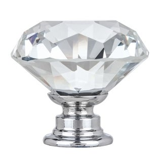 "1-3/8"" Solid Clear Round Diamond Cut Shape Crystal Glass Kitchen & Bath Knobs (Set of 4)"