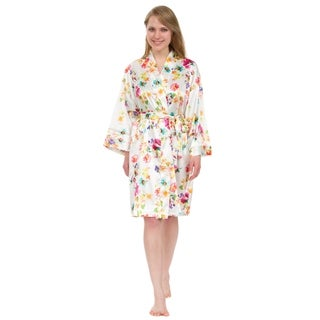 "Leisureland Women's Robe, Vintage Satin Floral Robe 36"""