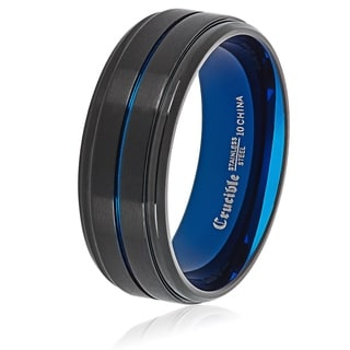 Crucible Men's Two Tone Brushed Stainless Steel Grooved Comfort Fit Ring (8mm) - Black/Blue