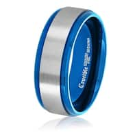 Crucible Blue Plated Brushed Stainless Steel Comfort Fit Ring (8mm) - White