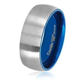 Crucible Men's Two Tone Brushed Stainless Steel Domed Comfort Fit Ring (8mm) - Blue/Silver