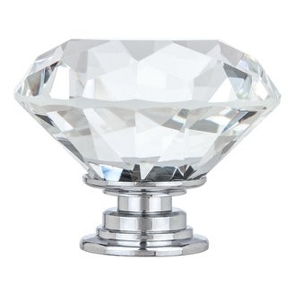 """1-5/8"""" Solid Clear Round Diamond Cut Shape Crystal Glass Kitchen & Bath Knobs (Set of 10)"""