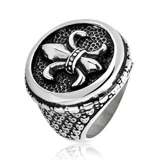 Crucible Stainless Steel Fleur de Lis Cast Ring (27.5mm Long) - Black/Silver