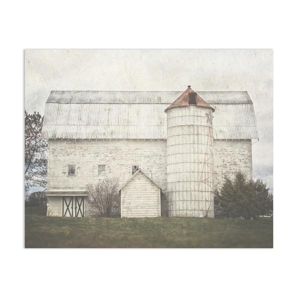 White Holiday Barn Handmade Paper Print