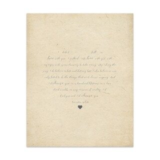 Fall In Love Tan Handmade Paper Print (2 options available)