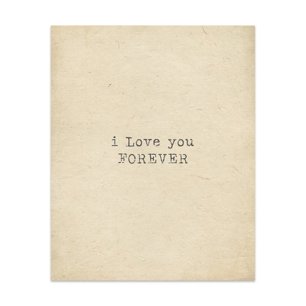 Love You Forever Handmade Paper Print