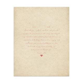 Fall In Love Red Tan Handmade Paper Print (2 options available)