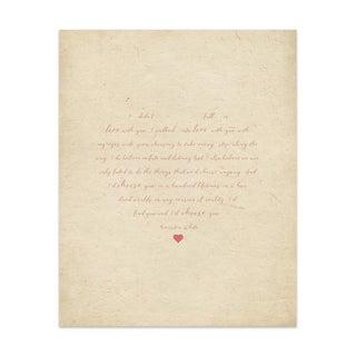 Fall In Love Red Tan Handmade Paper Print