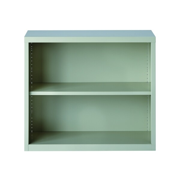 "Hirsh 30"" H 2-Shelf Metal Bookcase, Light Gray"