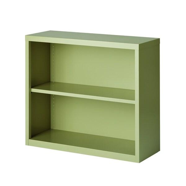 "Hirsh 30""H 2-Shelf Metal Bookcase, Putty"