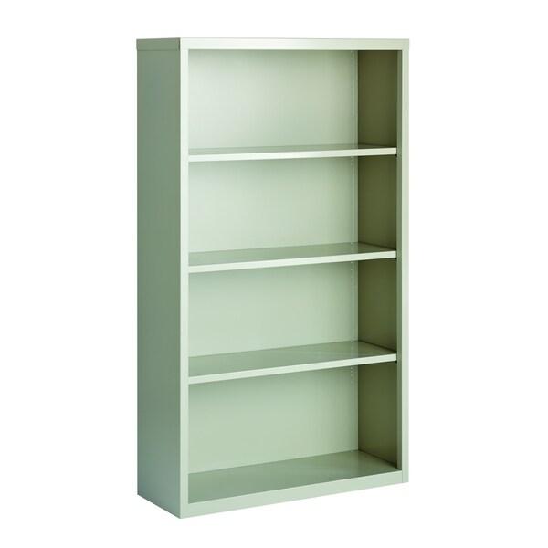 "Hirsh 60"" H 4-Shelf Metal Bookcase, Light Gray"
