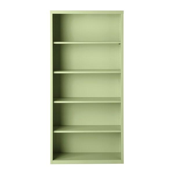 "Hirsh 72"" H 5-Shelf Metal Bookcase, Putty"