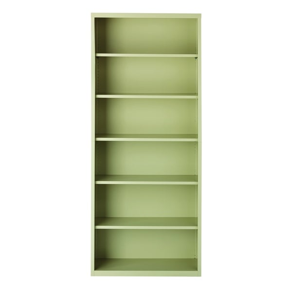 "Hirsh 82"" H 6-Shelf Metal Bookcase, Putty"