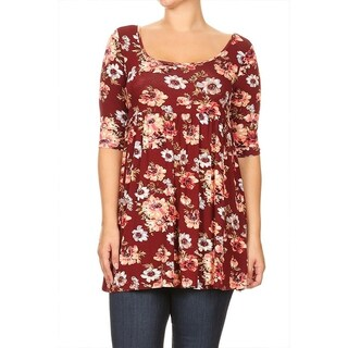 Women's Plus Size Floral Pattern Tunic MADE IN USA (More options available)