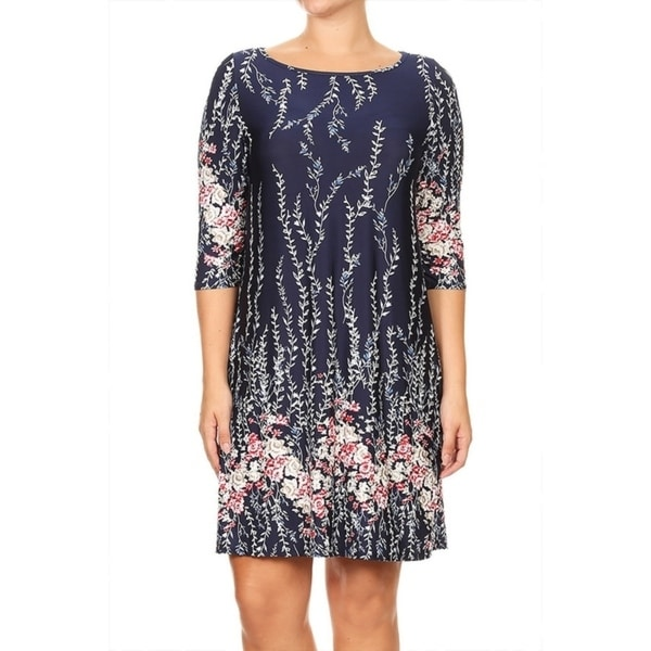 Shop Womens Plus Size Mixed Floral Pattern Dress Free Shipping