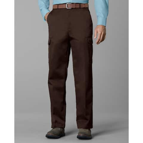 Twin Hill Mens Casual Pant Brown Poly/Cotton Flat Front