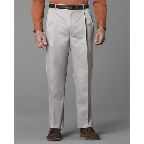 Twin Hill Mens Casual Pant Khaki Poly/Cotton Double Pleated