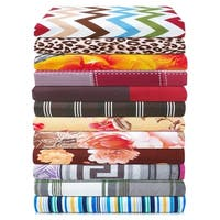 Printed Bed Sheet Set, Deep pocket fitted sheets, double set of pillowcases - By Clara Clark