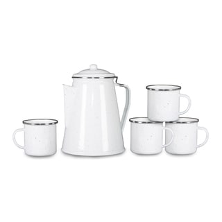Stansport Enamel Percolator Coffee Pot & 4 Mug Set White Enamel