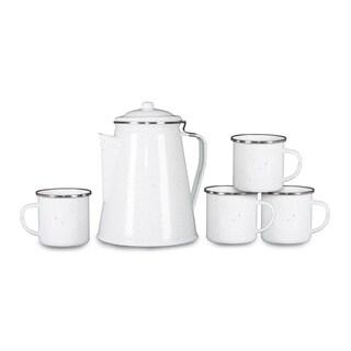 Stansport Enamel Percolator Coffee Pot & 4 Mug Set White Enamel