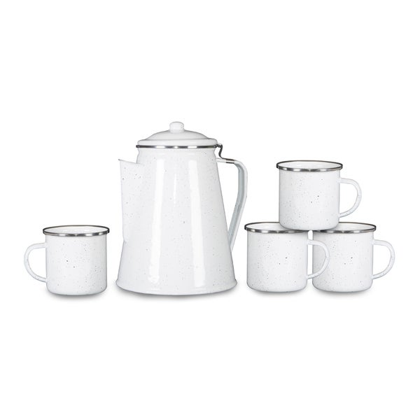 f5bee9eb7e2 Shop Stansport Enamel Percolator Coffee Pot & 4 Mug Set White Enamel - Free  Shipping On Orders Over $45 - Overstock - 17768075
