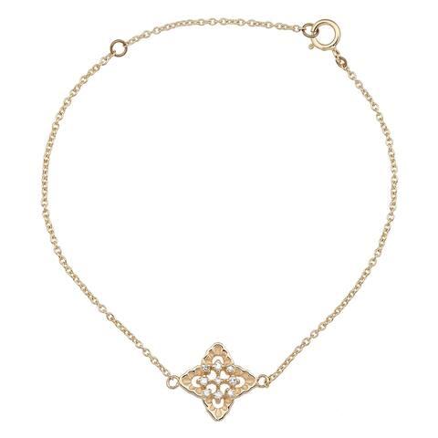 Viducci 10k Yellow Gold Diamond Pendant Bracelet