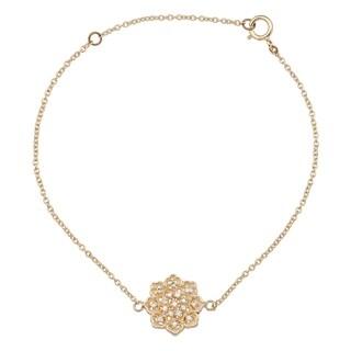 Viducci 10k Yellow Gold Floral Style Diamond Pendant Bracelet