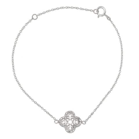 Viducci 10k White Gold Open Scroll 1/6ct Diamond Pendant Bracelet