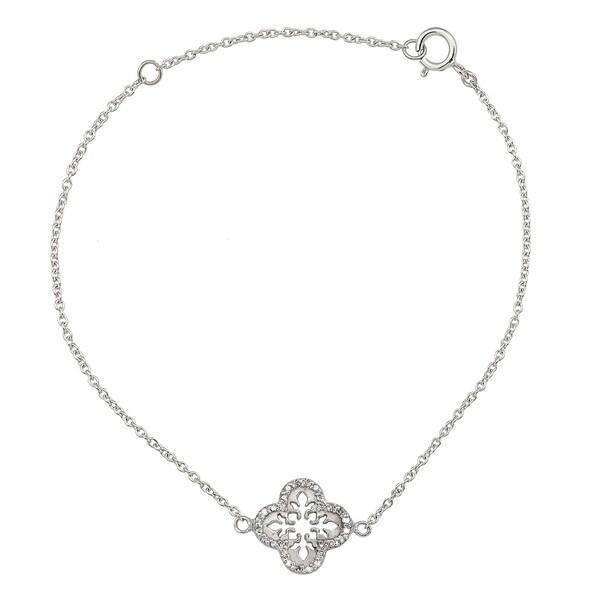 Viducci 10k White Gold Open Scroll 1/6ct Diamond Pendant Bracelet. Opens flyout.