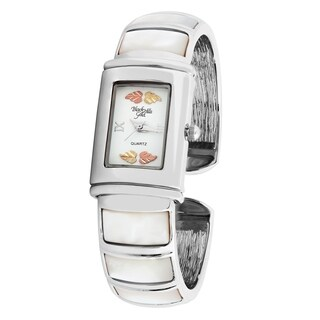 Ladies Black Hills Gold Bangle Watch with Mother of Pearl Trim - silver