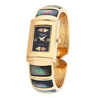 Ladies Black Hills Gold Bangle Watch with Shell Trim