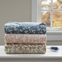 Beautyrest Tessa Printed Microlight Oversized Heated Throw