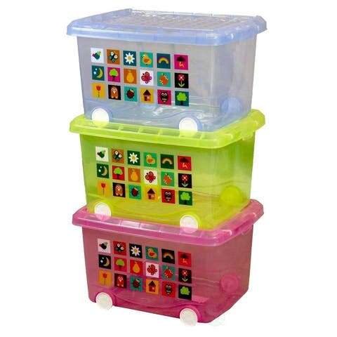 """Set of 3 Large Storage Containers with wheels - 17"""" w x 13"""" d x 11"""" h"""