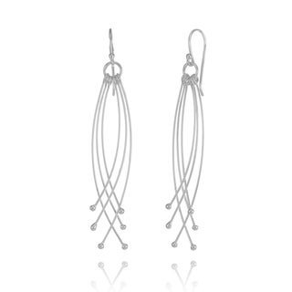 Mondevio Sterling Silver Dangling Curved Bars Lightweight Earrings
