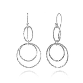 Mondevio Sterling Silver Double Circle Lightweight Dangle Earrings