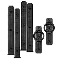 Cre8tive Hardware Rustic Rings Magnetic Garage Door Hardware Set (6 piece) - Black
