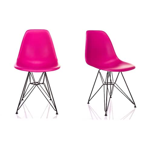 Nature Series Blossom Pink DSR Mid-Century Modern Dining Accent Side Chair with Black Eiffel Steel Leg (Set of 2)
