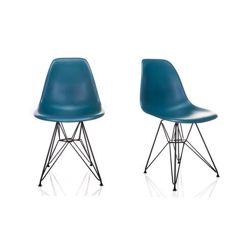 Nature Series Teal Blue DSR Mid-Century Modern Dining Accent Side Chair with Black Eiffel Steel Leg (Set of 2)