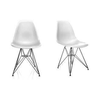 DSR Molded White Plastic Dining Shell Chair with Black Eiffel Steel Leg (Set of 2)