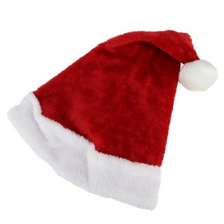"17"" Traditional Red and White Plush Christmas Santa Hat - Adult Size Medium"