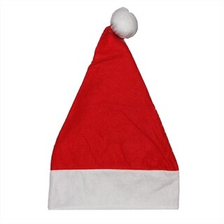 "18"" Traditional Red and White Felt Christmas Santa Hat - Adult Size Medium"