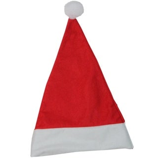 "17.5"" Traditional Red and White Christmas Santa Hat with White Pouf"