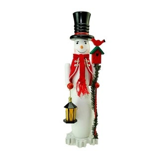 """18"""" Decorative White Red and Silver Glittered Wooden Christmas Snowman and Bird Nutcracker"""