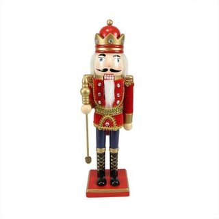 "14"" Decorative Wooden Red Blue and Gold Christmas Nutcracker King with Scepter"